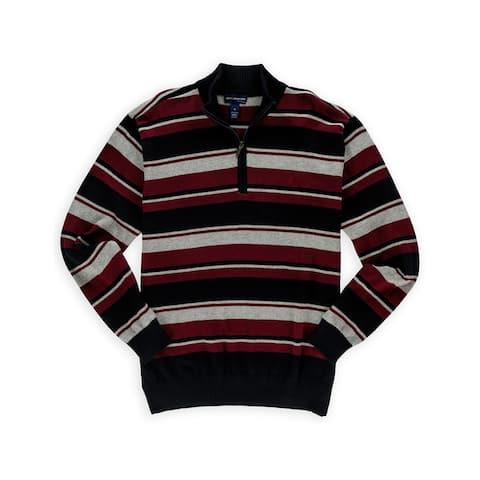 John Ashford Mens Striped Qaurter Zip Pullover Sweater