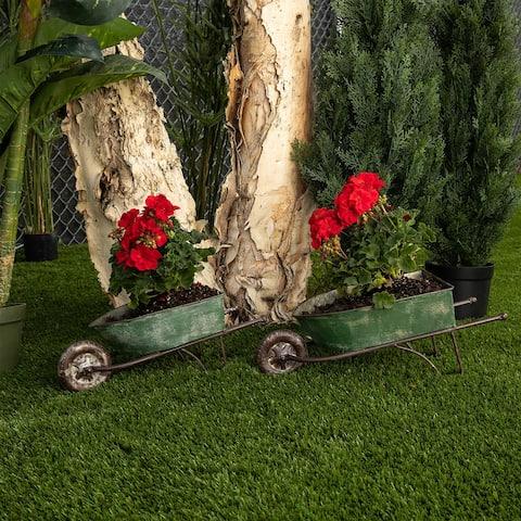 Alpine Corporation Green Rustic Wheelbarrow Garden Planter