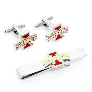 Iowa State Cyclones Cufflinks and Tie Bar Gift Set - Silver
