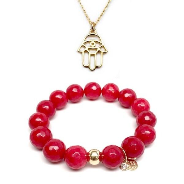 """Red Quartz 7"""" Bracelet & Protection Hand Gold Charm Necklace Set"""