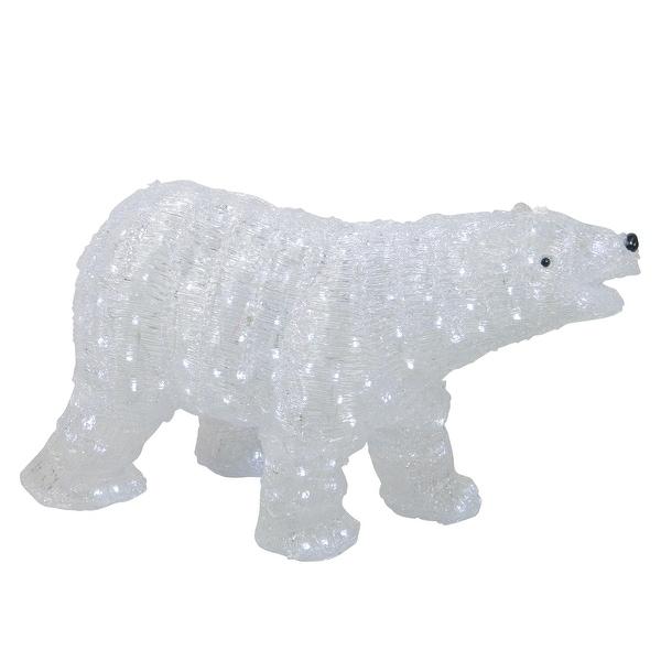 """28"""" Lighted Commercial Grade Acrylic Polar Bear Christmas Display Decoration - CLEAR"""