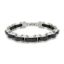 Two-Tone Black Stainless Steel Biker Chain Link Bracelet - 9 inches