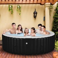 Costway Portable Inflatable Bubble Massage Spa Hot Tub 6 Person Relaxing Outdoor - Black