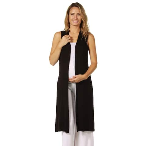 24seven Comfort Apparel Long Sleeveless Maternity Cardigan Vest