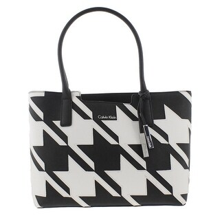 Calvin Klein Womens Kitote Tote Handbag Saffiano Leather Houndstooth - Large
