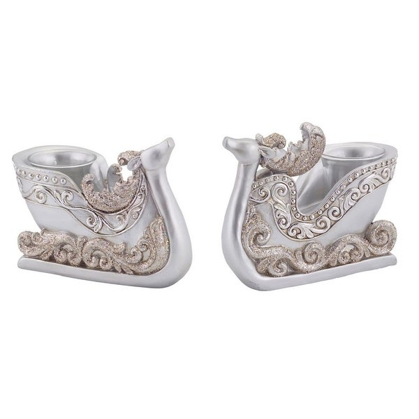 "Set of 2 Decorative Silver Reindeer Sleigh Christmas Tea Light Candle Holders 4.5"""