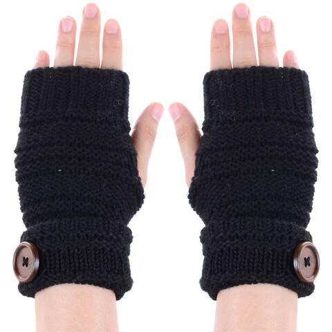 Womens Fingerless Glove Hand Warmer Wooden Button Soft Crochet Knit