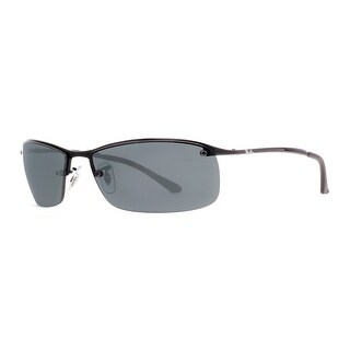 Ray Ban RB 3183 006/71 63mm Shiny Black/Gray Rectangular Wrap Sunglasses - Shiny Black - 63mm-15mm-125mm