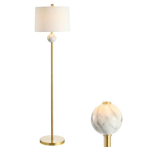 "Vaughn 60"" Modern Metal/Resin LED Floor Lamp, Brass Gold/White by JONATHAN Y"