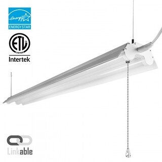 4ft Linkable LED Shop Light, 2-Tube T8 LED, 40W, 4000K /5000K, Pull Chain Switch