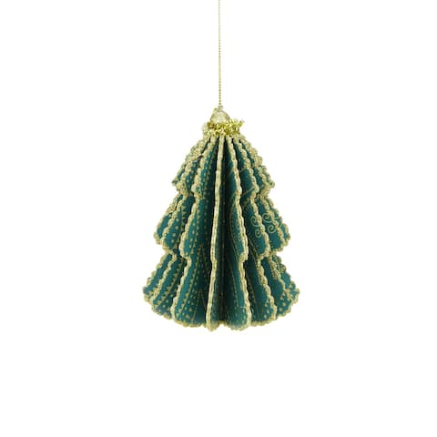 """6"""" Bohemian Holiday Teal Green Triangular and Polka Dotted Strands Print Gold Glittered Sliced Tree Finial Ornament"""