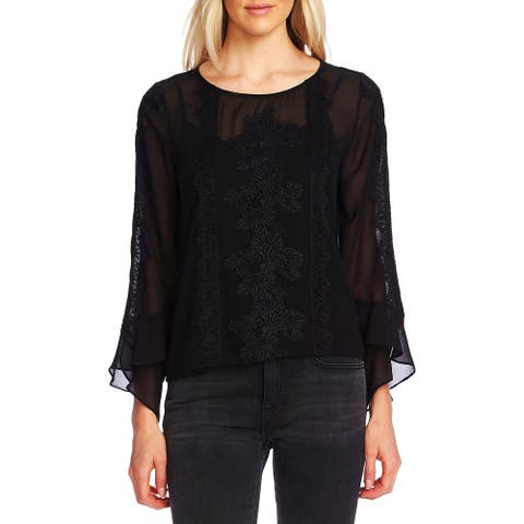 Vince Camuto Womens Blouse Layered Sheer - Rich Black
