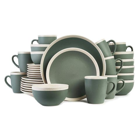 Stone Lain 32-Piece Stoneware Round Dinnerware Set, Service for 8 Green & Cream