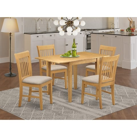 Small Dining Table and Kitchen Chairs with Linen Fabric Upholstery Seat (Number of Chairs Option)