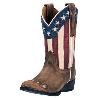 Dan Post Western Boots Girls Cowboy Stars Stripes Tan