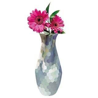Water-Color Flower Vase - Bizzy Blue and Green Honeycombs