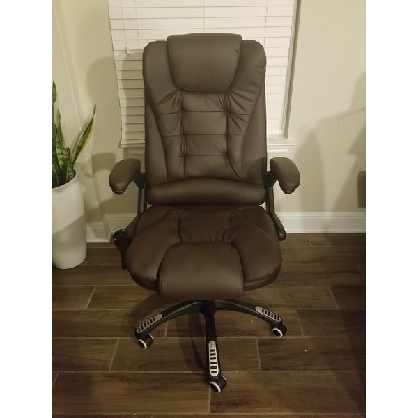 Shop HomCom Executive Ergonomic Heated Vibrating Massage Office Chair   Brown   On Sale   Free Shipping Today   Overstock.com   18088215