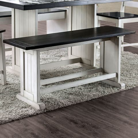 Furniture of America Mage Rustic White Solid Wood Counter Height Bench