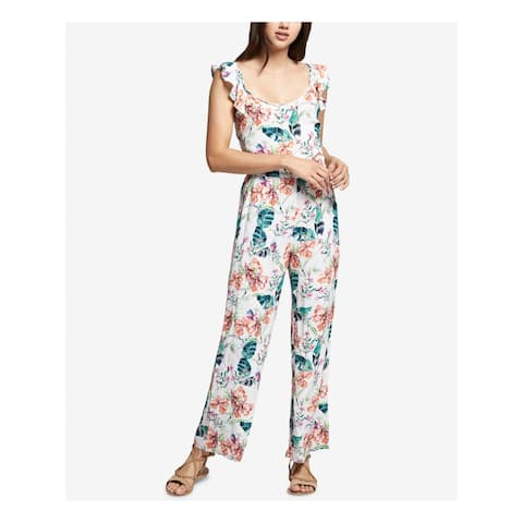 SANCTUARY Womens Ivory Flounce Printed Scoop Neck Jumpsuit Size L