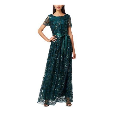 TAHARI Green Short Sleeve Full-Length Dress 4