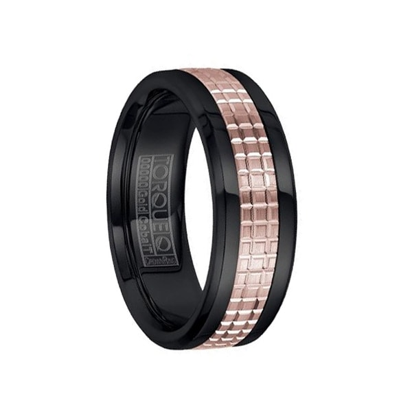 Polished Black Cobalt Men's Wedding Band with Grooved 14k Rose Gold Inlay by Crown Ring - 7.5mm