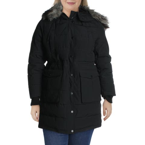BCBGeneration Womens Parka Coat Winter Quilted - Black - XL