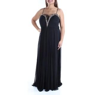 Womens Black Sleeveless Full Length Formal Dress Size: 16