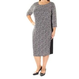 RALPH LAUREN $144 Womens 1059 Black Printed Sheath Dress 16W Plus B+B