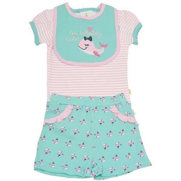 Duck Duck Goose Baby Girls Aqua Whale Print Bodysuit Bib 3 Pc Shorts Set