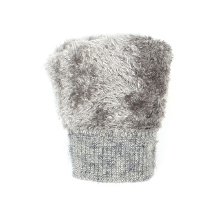 Womens Cable Knit Winter Gloves with Wooden Button Lined