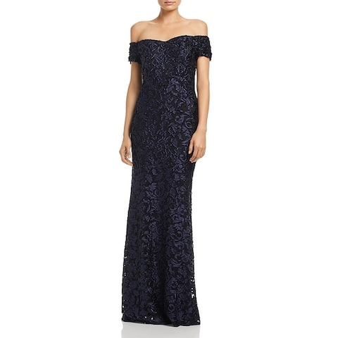 Laundry by Shelli Segal Womens Evening Dress Off-The-Shoulder Satin
