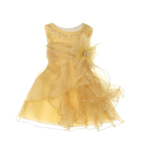 Cinderella Couture Baby Girls Gold Crystal Organza Cascade Ruffle Dress 6-24M