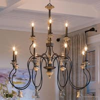 """Luxury French Country Chandelier, 46.875""""H x 42.125""""W, with Art Nouveau Style, Ancient Bronze Finish by Urban Ambiance"""