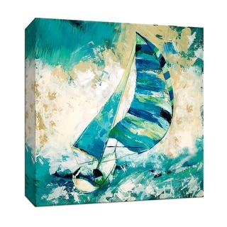 """PTM Images 9-147068  PTM Canvas Collection 12"""" x 12"""" - """"Blue Water Regatta"""" Giclee Sailboats Art Print on Canvas"""