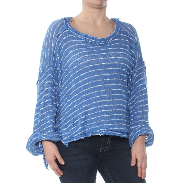 02b949a73773 Shop FREE PEOPLE Womens Blue Striped Hacci Long Sleeve Scoop Neck Top Size:  S - Free Shipping On Orders Over $45 - Overstock - 28422566