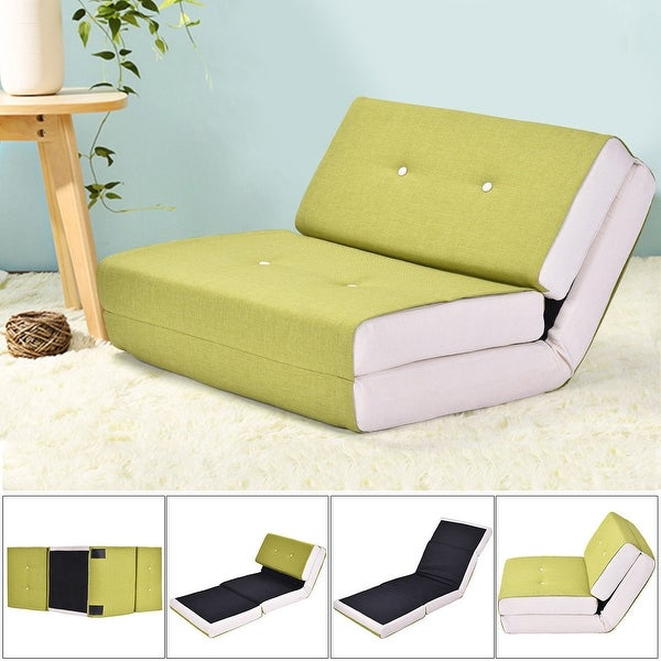 Costway Fold Down Chair Flip Out Lounger Convertible Sleeper Bed Couch Dorm Green