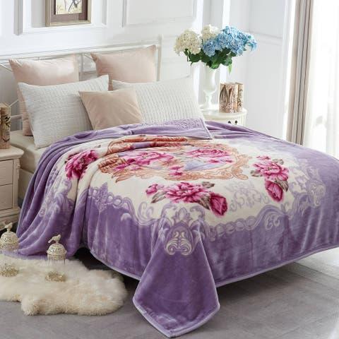2 Ply A&B Printed Raschel Bed Blanket Korean Style Mink Blanket