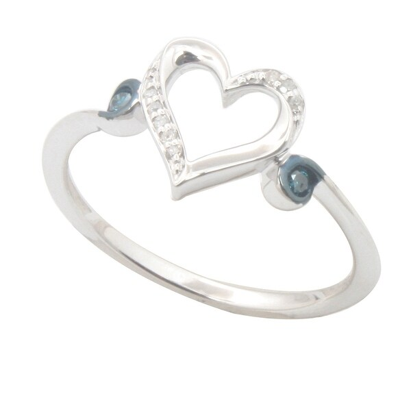 Natural White Diamond and Side Blue Color Diamond Heart Shaped Valentine Ring