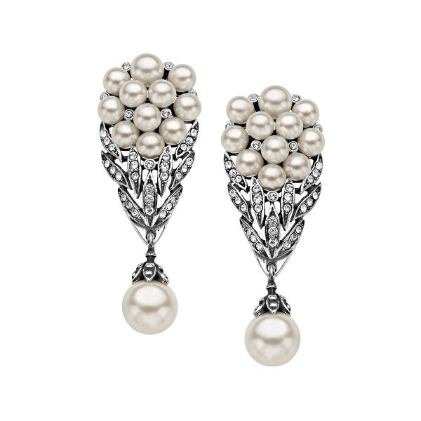 Van Kempen Victorian Pearl and Swarovski Elements Crystals Bouquet Drop Earrings in Sterling Silver