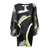 Alfani Women's Chiffon Sleeve Jersey Print Tunic Blouse - Black