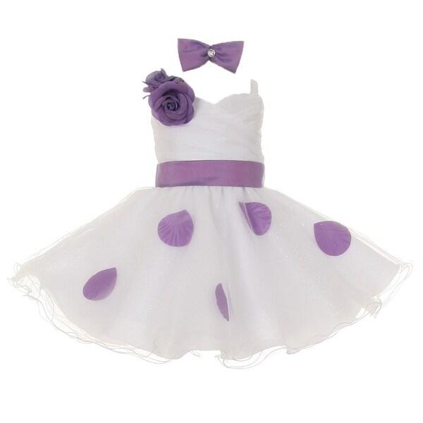 Baby Girls White Purple Polka Dots Bow Organza Flower Girl Dress 6-18M