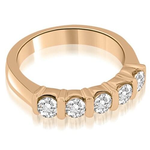 0.50 cttw. 14K Rose Gold Classic Bar Set Round Diamond Wedding Band