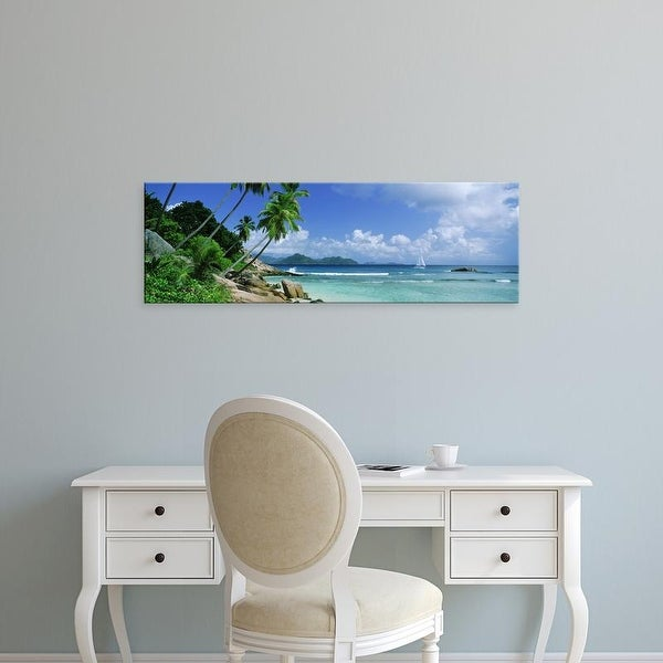 Easy Art Prints Panoramic Image 'Palm trees, beach, Anse Severe, La Digue Island,Praslin Island, Seychelles' Canvas Art