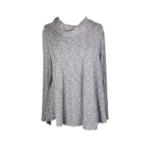 Style & Co Plus Size Grey Cowl-Neck Knit Top 0X