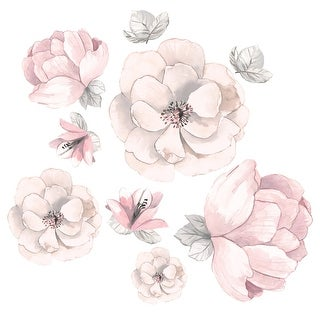 Link to Lambs & Ivy Signature Botanical Baby Pink/Gray Watercolor Floral Wall Decals Similar Items in Wall Decor