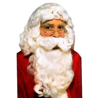 Deluxe Santa Claus Christmas Wig & Beard Adult Costume Set - White