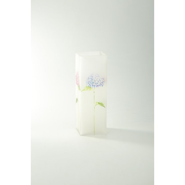 "11"" Clear Floral Printed Square Flower Hand Blown Glass Vase - N/A"