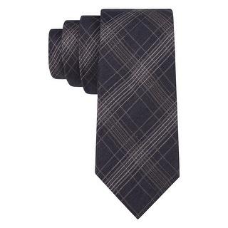 Calvin Klein CK Grey Flannel Plaid Silk Blend Skinny Tie Slim Width Necktie