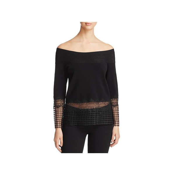 Elie Tahari Womens Alisha Blouse Crochet Inset Off The Shoulder