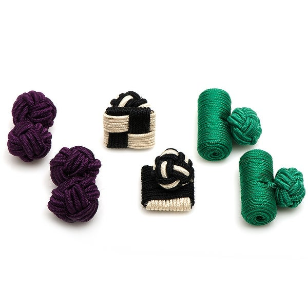 Peacock Silk Knot Combo Cufflinks